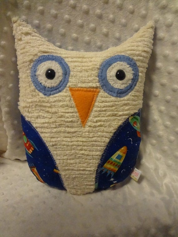 Large hoot owl rocket ship space fabric by fuzzywuzzyboutique for Space minky fabric