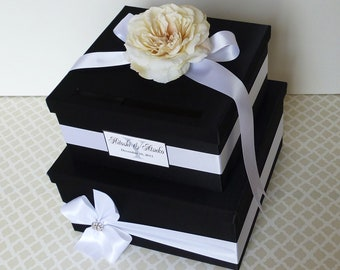Ready to Ship! Wedding Card Box Black White Money Holder Customizable