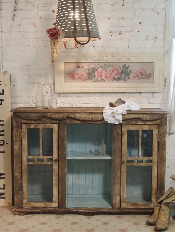 Painted Cottage Chic Shabby Aqua Hand Made French Cabinet SV301