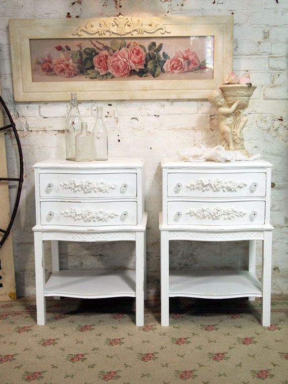 RESERVE TAYLOR Painted Cottage Shabby White Pair of  French Night Tables NT483
