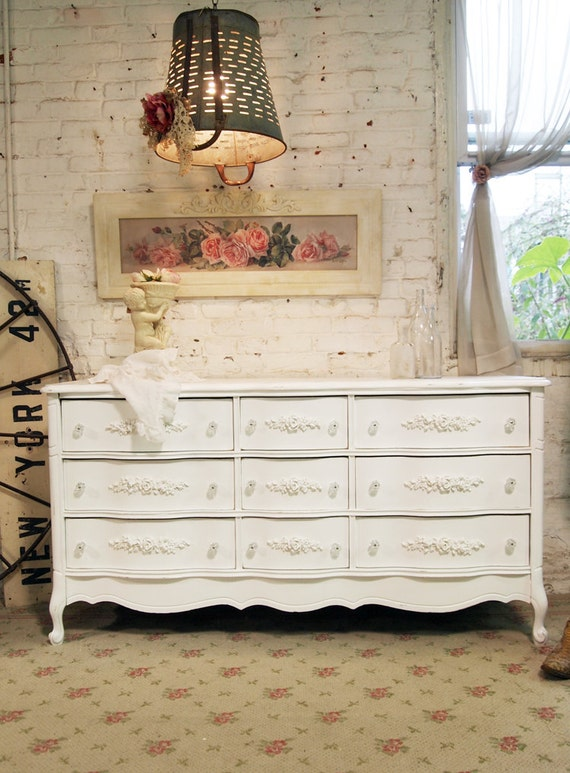 Painted Cottage Chic Shabby White Romantic French Dresser DR424
