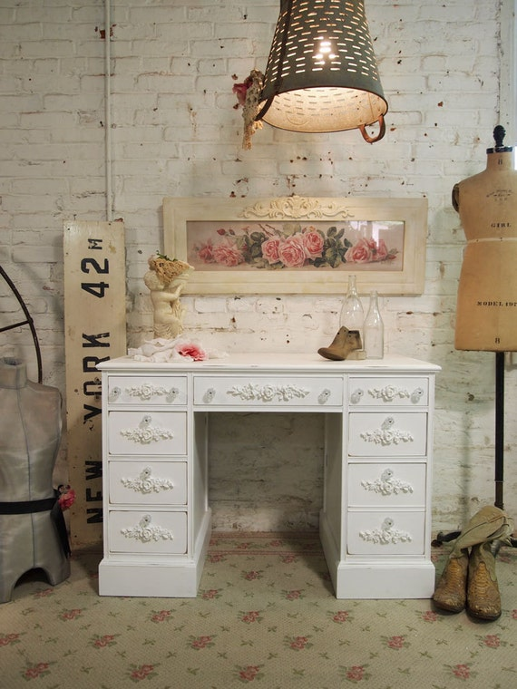 Painted Cottage Chic Shabby White Romantic Desk DK271