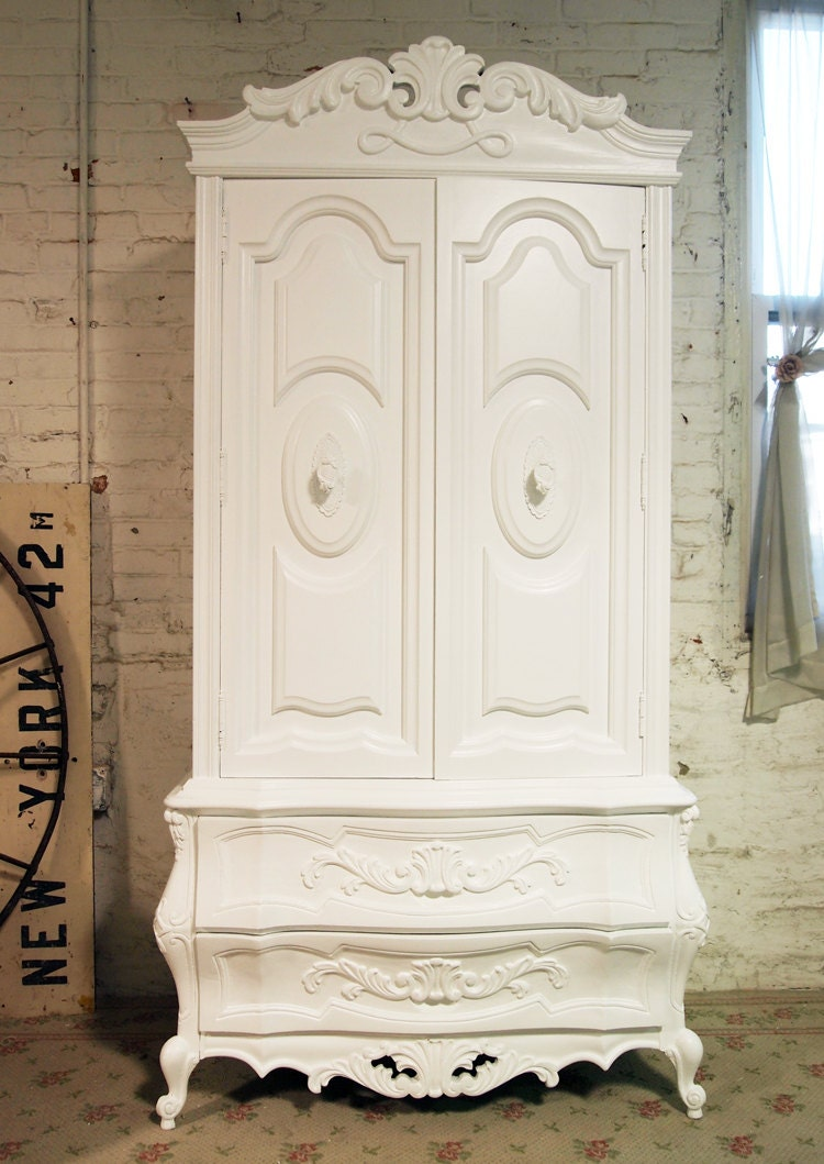 painted cottage chic shabby french armoire. Black Bedroom Furniture Sets. Home Design Ideas