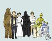 Cute Star Wars -family portrait- art illustration- 8x10 print