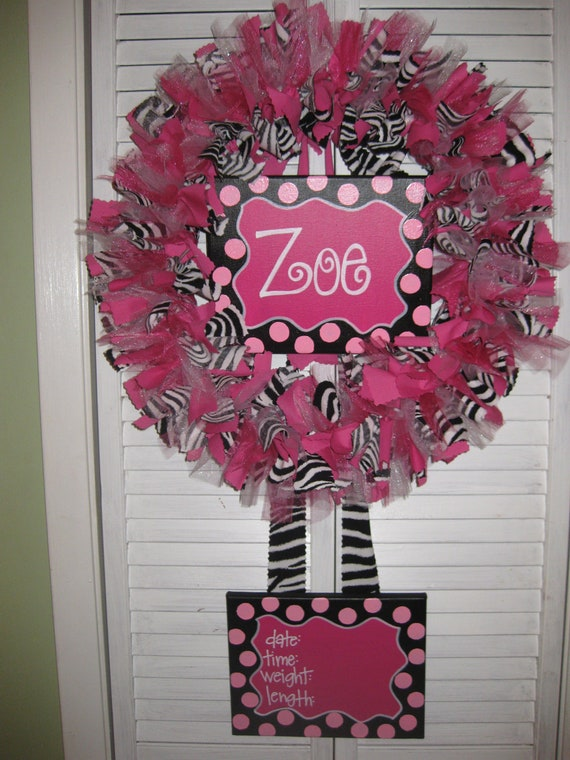 Custom boutique baby wreaths birth announcements and for Baby girl hospital door decoration