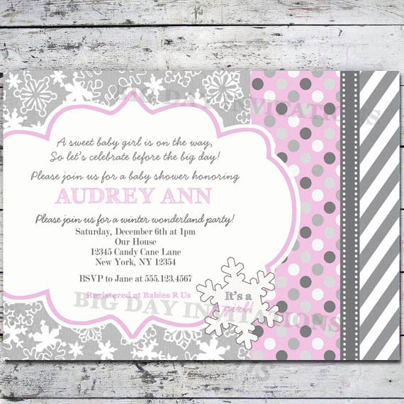 items similar to girl winter wonderland baby shower invitation, Baby shower