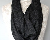 SALE - Aztec PRINT black and grey infinity SCARF by Fairytale13.