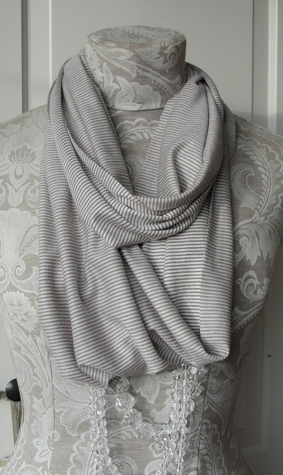 Listing for Melissa - Stone and white mini STRIPE infinity SCARF with next day shipping