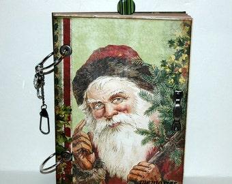 SALE....Santa  Christmas Journal - December Daily - Scrapbook - Smash Book