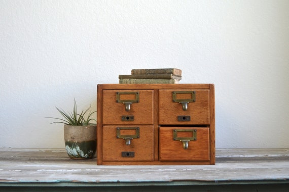 old library card cabinet