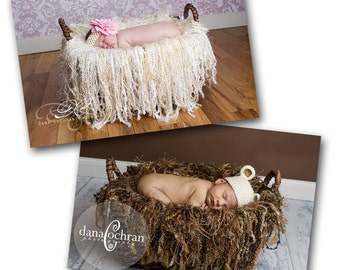 Newborn fringe blanket photography props - set of two - cream and brown
