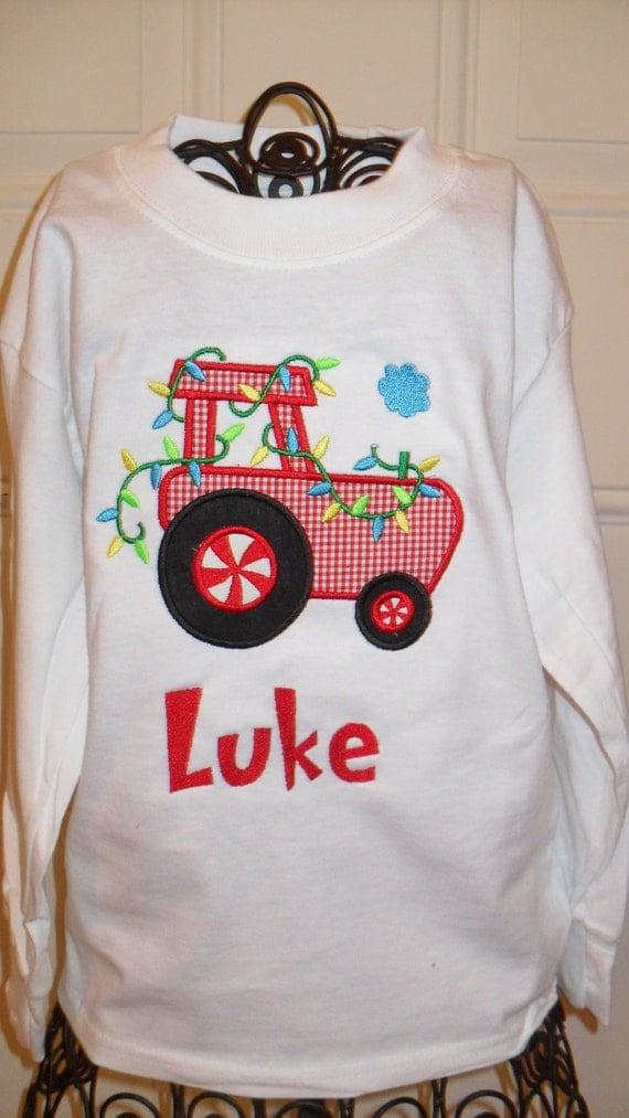 Items Similar To Boys Christmas Tractor Applique Shirt