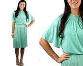 1970s flutter sleeve dress, mint green dress, grecian goddess dress, NOS, tags attached, Toni Todd, Size 12