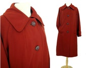 Vintage 60s coat, 1960s overcoat, Mad Men, rusty red, burnt orange, top coat,  textured knit, lined, wide cuffs, big buttons, size L