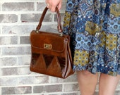 1960s handbag, simulated leather,brown purse,shiny triangles, faux leather, Vegan purse, mid century vegan
