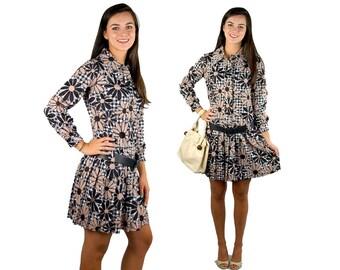 1960s mod dress, 60s daisy dress, brown black, flower power, pleated skirt, drop waist dress, school girl, Size M