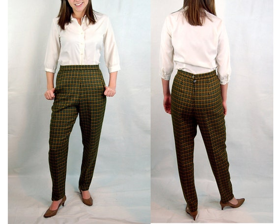 Vintage high waisted pants - wool tweed pants - green and gold wool pants - 1980s - Glenora - Size M