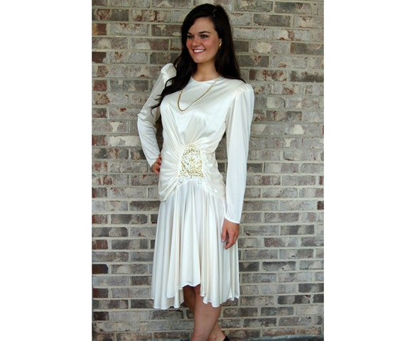 1980s dress, Grecian Goddess, white ivory, draped dress, Size 10