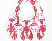 SALE - LAST ONE Maine Lobster Bib - Baby Boy or Girl Boutique Chenille Bib