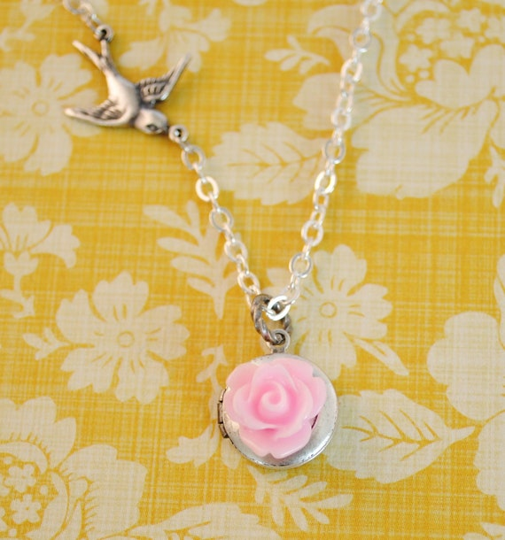 Light Pink Rose Locket with Sparrow Girl Necklace in Silver