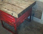 Kitchen Island or Occasional Table made with Repurposed, Reclaimed Vintage Industrial Materials