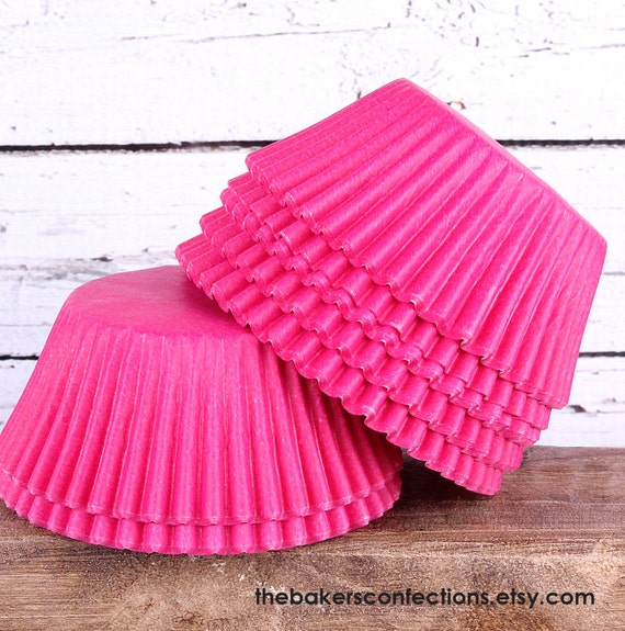 Bright Pink Cupcake Liners, Hot Pink Cupcake Liners, Paper Cupcake Liners, Party Cupcake Liners, Wedding Cupcake Liners (50 count)