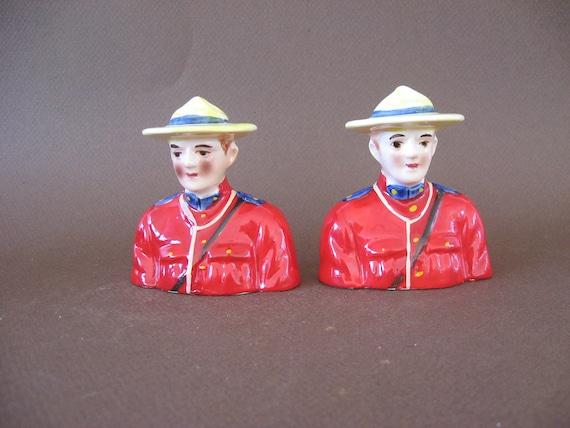 Ships Free - Vintage Royal Canadian Mounted Police RCMP Salt and Pepper Shaker Set