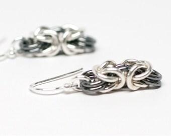 Yin - Yang Byzantine. Sterling silver chainmaille earrings.
