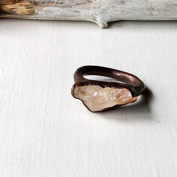 Copper Ring Topaz Ring Clear Peach Raw Crystal Organic Raw Artisan Handmade
