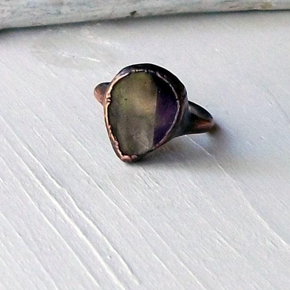 RESERVED Copper Ring Quartz Amethyst Hematite Violet Smoke Smokey Purple Gem February Birthstone Artisan Handmade