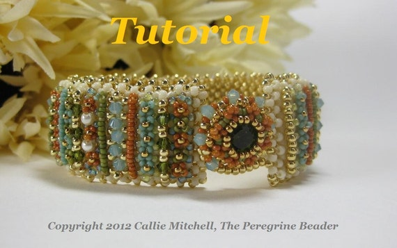 Tutorial for Garden Rows Beadwoven Bracelet with Crystal Accents