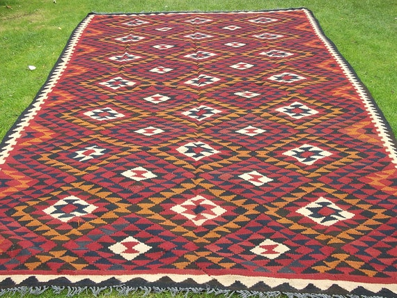 Bold 9 x 6 Maimana. Hand woven Persian Rug/Kilim Carpet from Afghanistan.