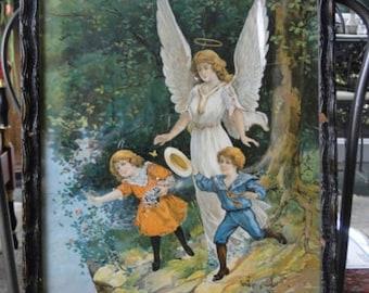 Vintage Framed Guardian Angel Lithograph