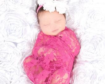 Baby Girl Wrap, Fuchsia Pink Lace Wrap, Newborn Stretch Wrap, Newborn Girl Photo Prop, Newborn Props, Baby Wraps, Layering Fabric Prop