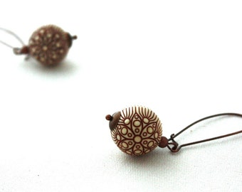 French Roast Brown Etched Carved Acrylic Dangle Earrings :  Daily Grind