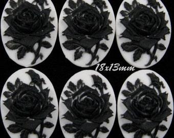 18x13mm Cameo - Black/White - Rose Solitaire - 6 pcs : sku 09.10.12.2 - D15