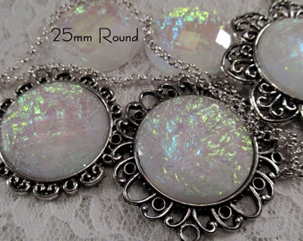 25mm Round - White Opal - Faceted Acrylic Cabochon - 3 pcs : sku 11.24.12.13 - T1