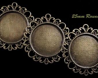 25mm Round - Antique Bronze - Alloy Setting - 'Sunny I' - 3 pcs : sku 11.28.12.3 - T12
