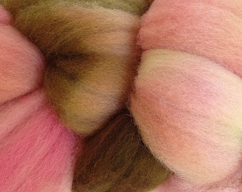 Wool Roving Hand Dyed in Pink Sand Pink Brown
