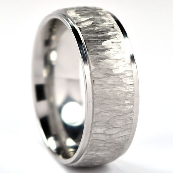 8 mm Custom Made Cobalt Wedding Ring with a Tree-Bark Finish