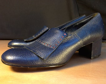 Vintage 1960s Navy Loafer with Red Dots- 5