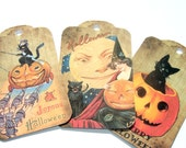 Halloween Gift Tags -  Set of 8 -  Black Cat Tags - Vintage Halloween - Holiday Tags - Witch Tag - Treat Bag Toppers