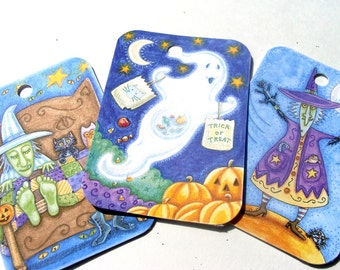Halloween Tags - Set of 9 - Cute Halloween - Witch Tags - Cat Tags - Pumpkin House - Whimsical Tags - Treat Bag Tags - Halloween Fun