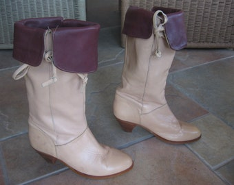 Vintage Women's FRYE Boots Tan Boot with Burgundy Cuff size 7.5M