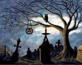 Halloween Cross Stitch Pattern PDF - Halloween Graveyard