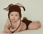Super Soft   Ready to SHIP Crocheted Baby Brown Easter Bunny Hat and Diaper Cover setw/attachable tail