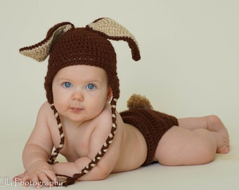 Priority shipping 1 to 3 days  Ready to SHIP Crocheted Baby Brown Easter Bunny Hat and Diaper Cover setw/attachable tail