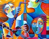 Abstract Cubism Hand embellished Fine Art Giclee print on canvas from my original painting Jazz Trio Marlina Vera Gallery Modern Artwork