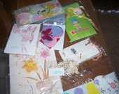 Destash Lot of 70 plus Scrapbook materials, stickers, & Vintage wallpaper