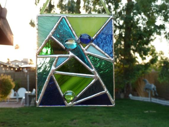 Stained Glass Mini Panel-Blue-Green-Suncatcher